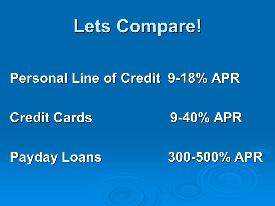 Lets Compare! Personal Line of Credit 9-18% APR Credit Cards 9-40% APR Payday Loans % APR