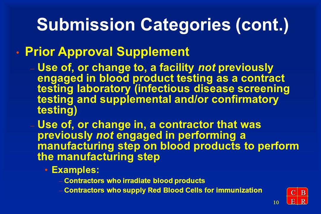 CBER 10 Submission Categories (cont.) Prior Approval Supplement – Use of, or change to, a facility not previously engaged in blood product testing as a contract testing laboratory (infectious disease screening testing and supplemental and/or confirmatory testing) – Use of, or change in, a contractor that was previously not engaged in performing a manufacturing step on blood products to perform the manufacturing step Examples: – Contractors who irradiate blood products – Contractors who supply Red Blood Cells for immunization
