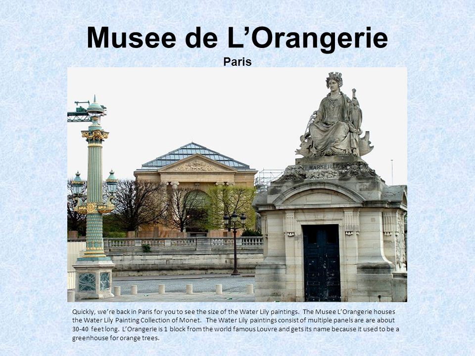 Musee de L'Orangerie Paris Quickly, we're back in Paris for you to see the size of the Water Lily paintings.