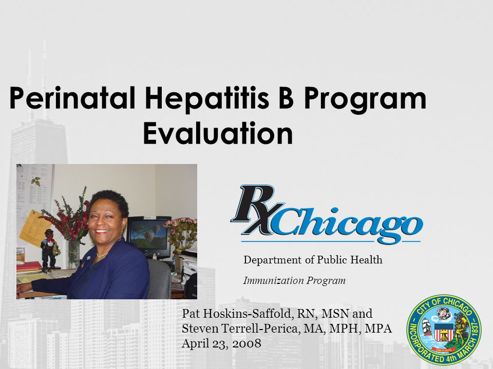 Perinatal Hepatitis B Program Evaluation Department of Public Health Immunization Program Pat Hoskins-Saffold, RN, MSN and Steven Terrell-Perica, MA, MPH, MPA April 23, 2008