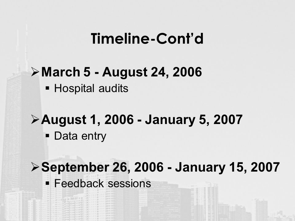 Timeline-Cont'd  March 5 - August 24, 2006  Hospital audits  August 1, January 5, 2007  Data entry  September 26, January 15, 2007  Feedback sessions
