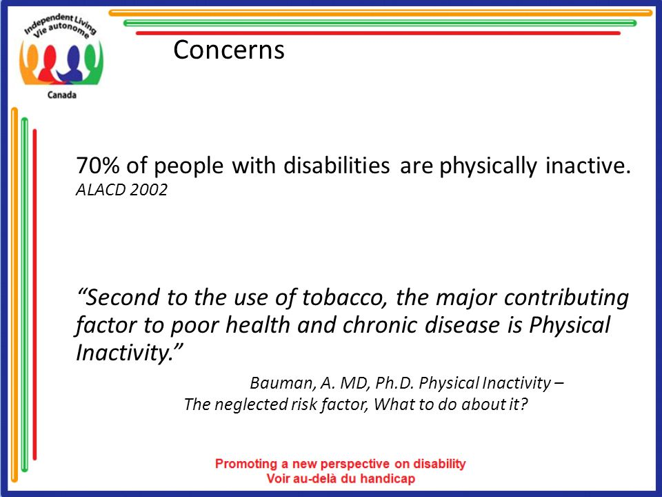 Concerns 70% of people with disabilities are physically inactive.