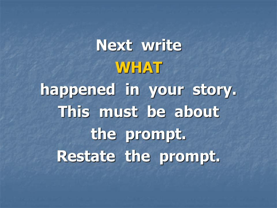 Next write WHAT happened in your story. This must be about the prompt. Restate the prompt.