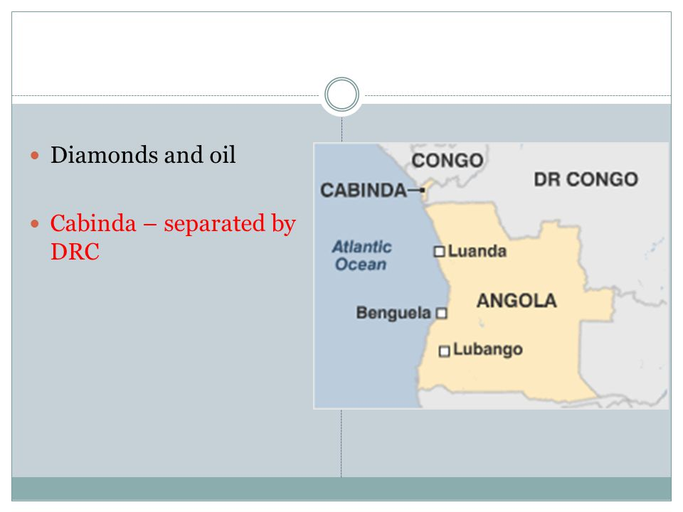 Diamonds and oil Cabinda – separated by DRC