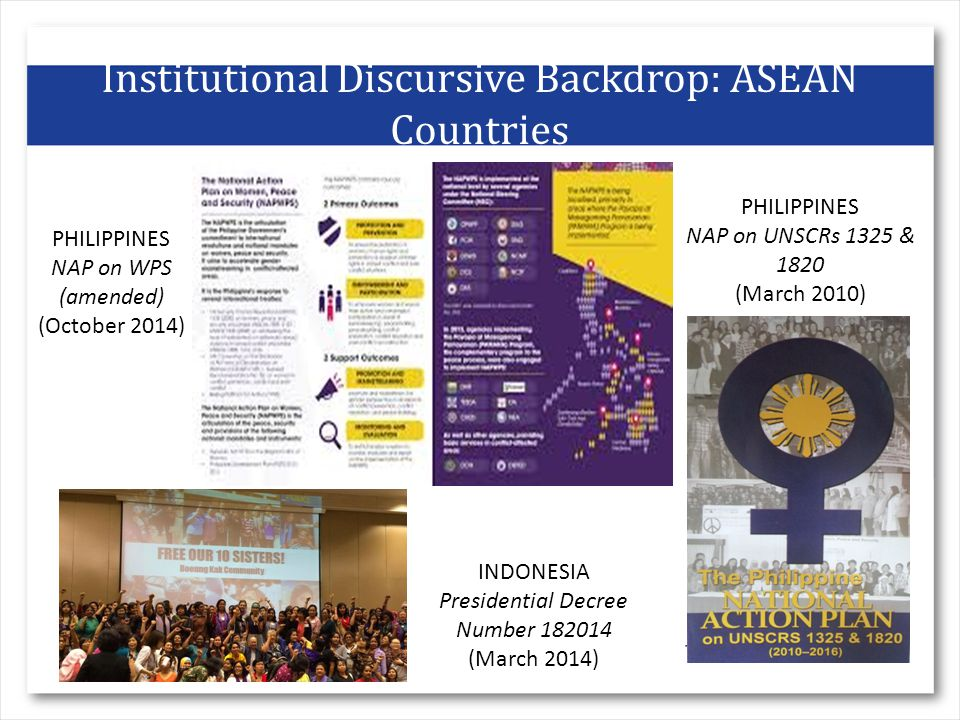 Institutional Discursive Backdrop: ASEAN Countries INDONESIA Presidential Decree Number (March 2014) PHILIPPINES NAP on UNSCRs 1325 & 1820 (March 2010) PHILIPPINES NAP on WPS (amended) (October 2014)