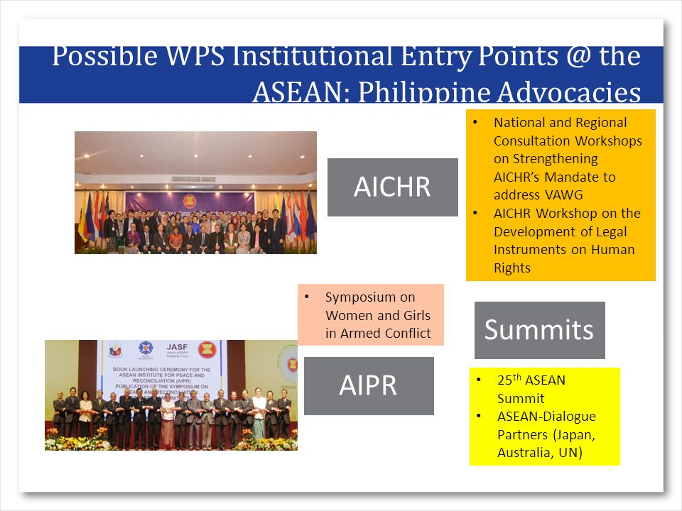 Possible WPS Institutional Entry the ASEAN: Philippine Advocacies AICHR Summits AIPR National and Regional Consultation Workshops on Strengthening AICHR's Mandate to address VAWG AICHR Workshop on the Development of Legal Instruments on Human Rights Symposium on Women and Girls in Armed Conflict 25 th ASEAN Summit ASEAN-Dialogue Partners (Japan, Australia, UN)