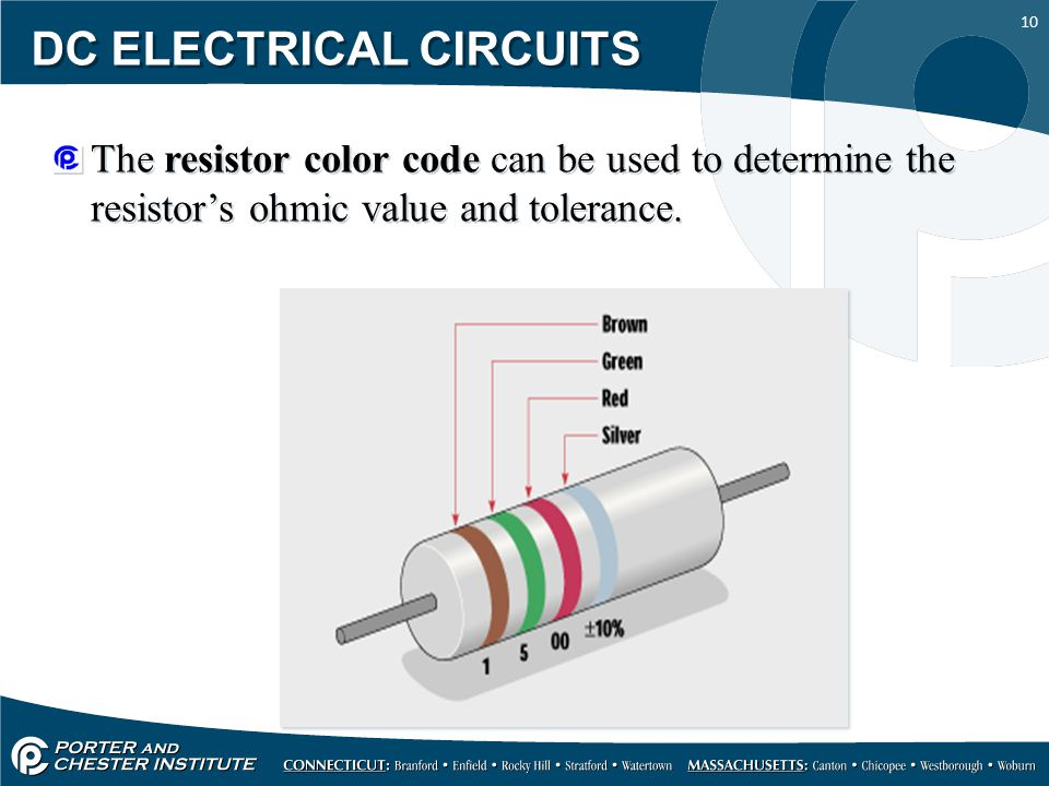 10 DC ELECTRICAL CIRCUITS The resistor color code can be used to determine the resistor's ohmic value and tolerance.