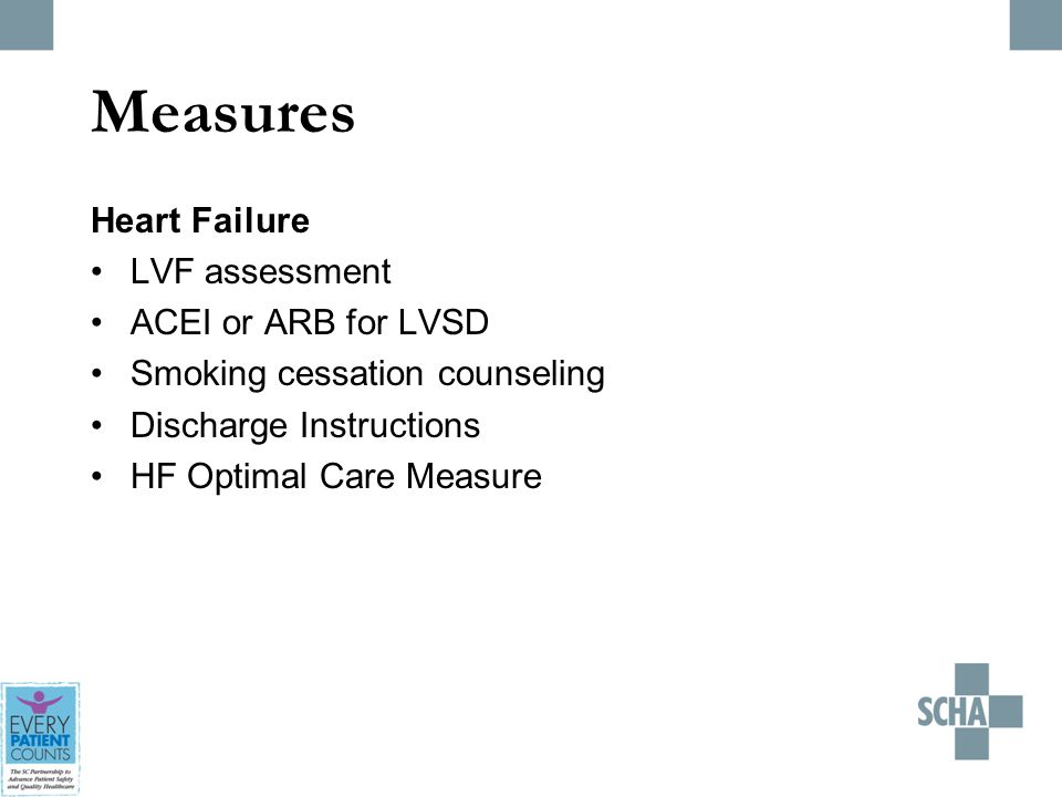 Measures Heart Failure LVF assessment ACEI or ARB for LVSD Smoking cessation counseling Discharge Instructions HF Optimal Care Measure