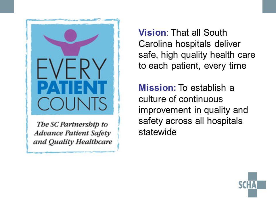 Vision: That all South Carolina hospitals deliver safe, high quality health care to each patient, every time Mission: To establish a culture of continuous improvement in quality and safety across all hospitals statewide