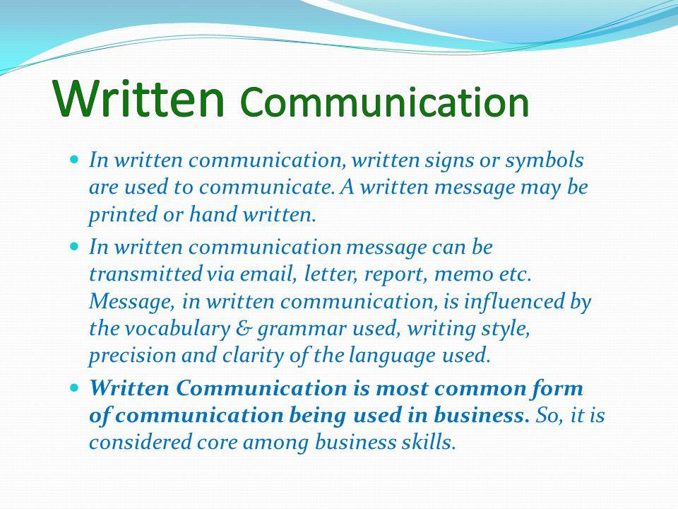 Written communication in care settings?