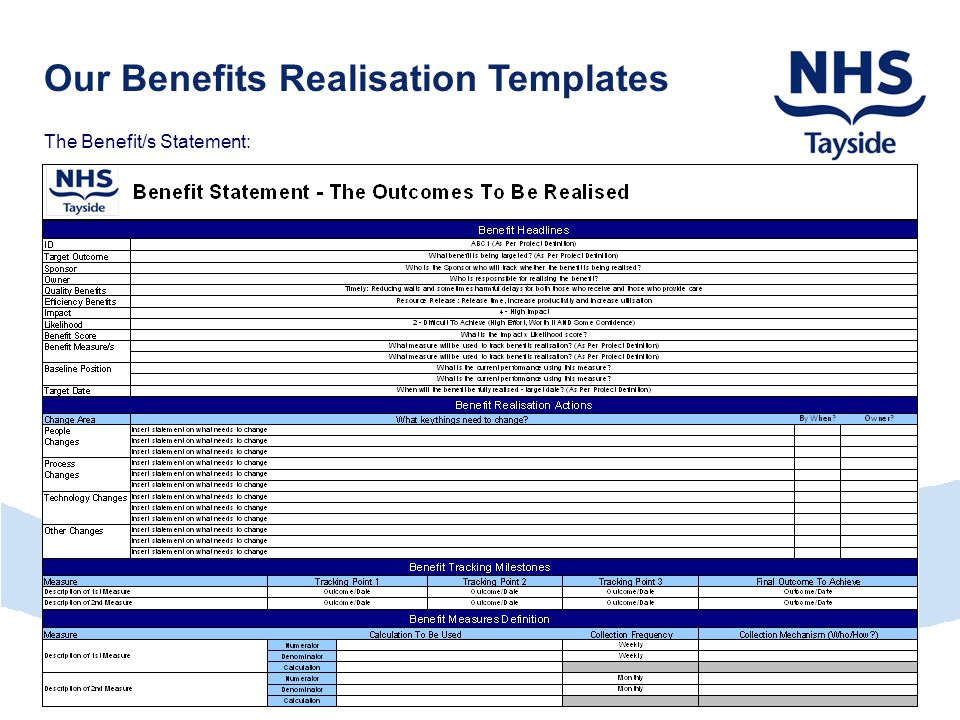Our Benefits Realisation Templates The Benefit/s Statement: