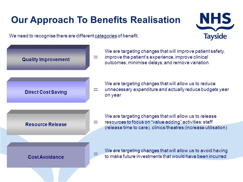 Our Approach To Benefits Realisation We need to recognise there are different categories of benefit.