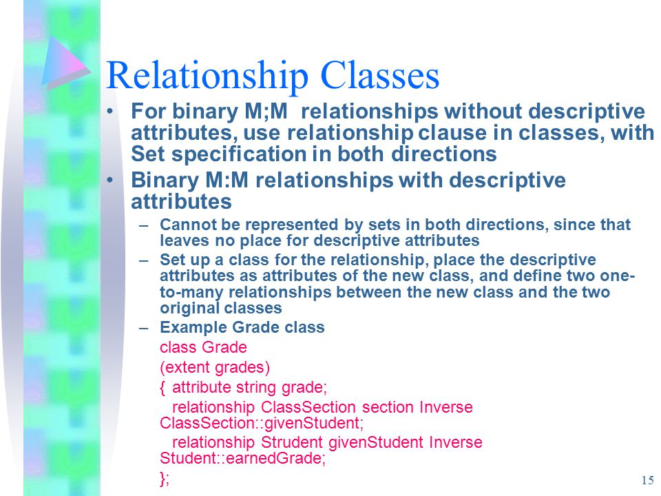 15 Relationship Classes For binary M;M relationships without descriptive attributes, use relationship clause in classes, with Set specification in both directions Binary M:M relationships with descriptive attributes –Cannot be represented by sets in both directions, since that leaves no place for descriptive attributes –Set up a class for the relationship, place the descriptive attributes as attributes of the new class, and define two one- to-many relationships between the new class and the two original classes –Example Grade class class Grade (extent grades) {attribute string grade; relationship ClassSection section Inverse ClassSection::givenStudent; relationship Strudent givenStudent Inverse Student::earnedGrade; };