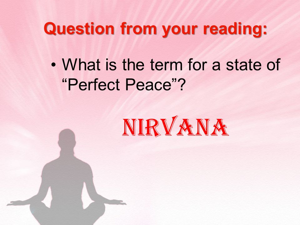 Question from your reading: What is the term for a state of Perfect Peace Nirvana