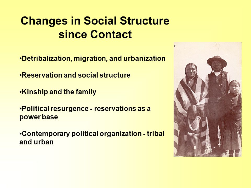 Changes in Social Structure since Contact Detribalization, migration, and urbanization Reservation and social structure Kinship and the family Political resurgence - reservations as a power base Contemporary political organization - tribal and urban