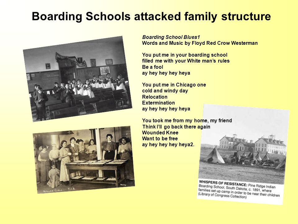 Boarding School Blues1 Words and Music by Floyd Red Crow Westerman You put me in your boarding school filled me with your White man's rules Be a fool ay hey hey hey heya You put me in Chicago one cold and windy day Relocation Extermination ay hey hey hey heya You took me from my home, my friend Think I'll go back there again Wounded Knee Want to be free ay hey hey hey heya2.