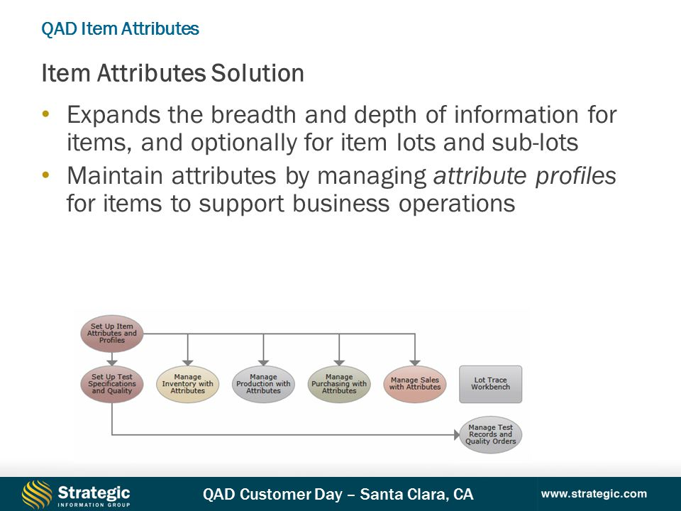 QAD Customer Day – Santa Clara, CA Expands the breadth and depth of information for items, and optionally for item lots and sub-lots Maintain attributes by managing attribute profiles for items to support business operations Item Attributes Solution QAD Item Attributes
