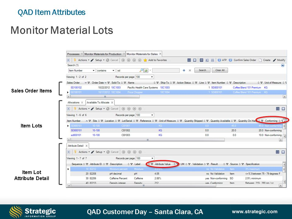 QAD Customer Day – Santa Clara, CA QAD Item Attributes Monitor Material Lots Sales Order Items Item Lots Item Lot Attribute Detail