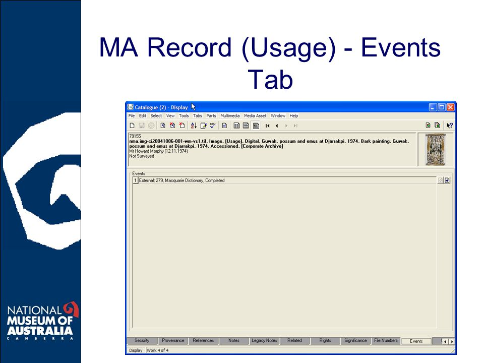 MA Record (Usage) - Events Tab