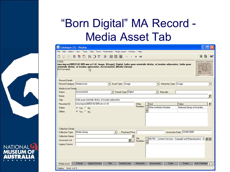 Born Digital MA Record - Media Asset Tab