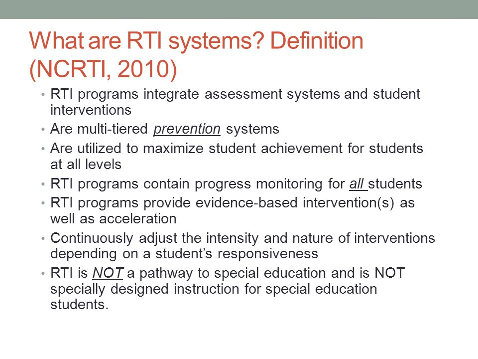 What are RTI systems.