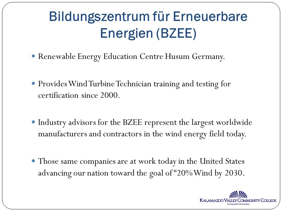 Bildungszentrum für Erneuerbare Energien (BZEE) Renewable Energy Education Centre Husum Germany.