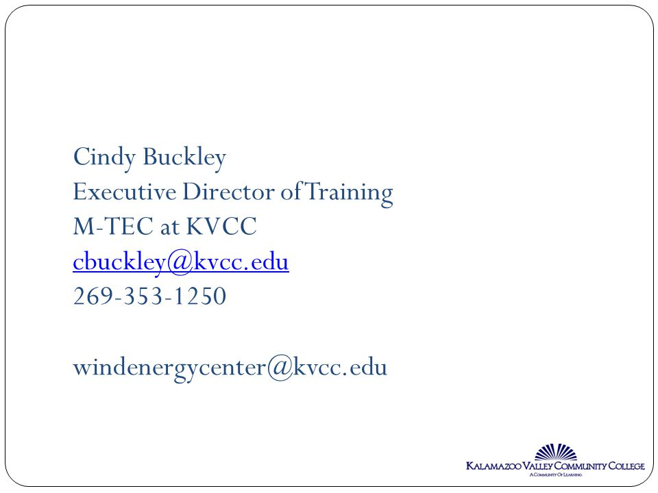 Cindy Buckley Executive Director of Training M-TEC at KVCC