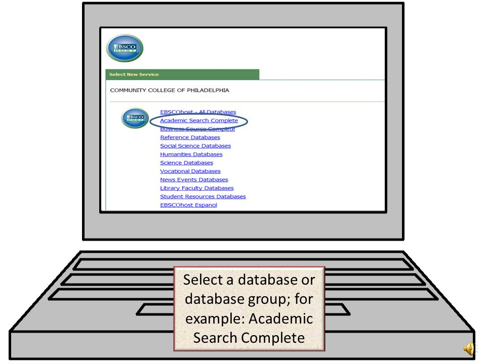 Scroll down the alphabetical list of databases and click on EBSCOhost