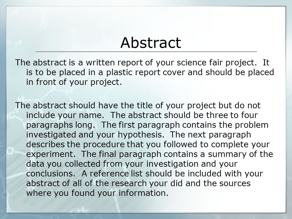 abstract research paper science Learn how to write an abstract for a scientific paper and see the purpose of the abstract is to summarize the research paper by 6 things the science fair.