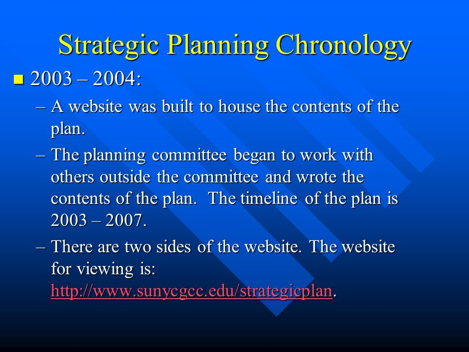 Strategic Planning Chronology 2003 – 2004: 2003 – 2004: –A website was built to house the contents of the plan.