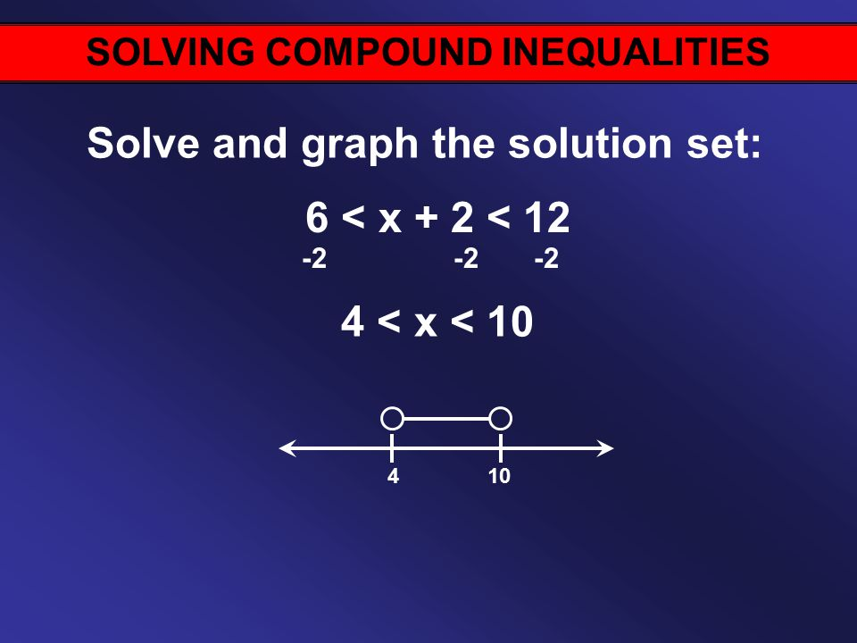 SOLVING COMPOUND INEQUALITIES Solve and graph the solution set: 6 < x + 2 < < x < 10