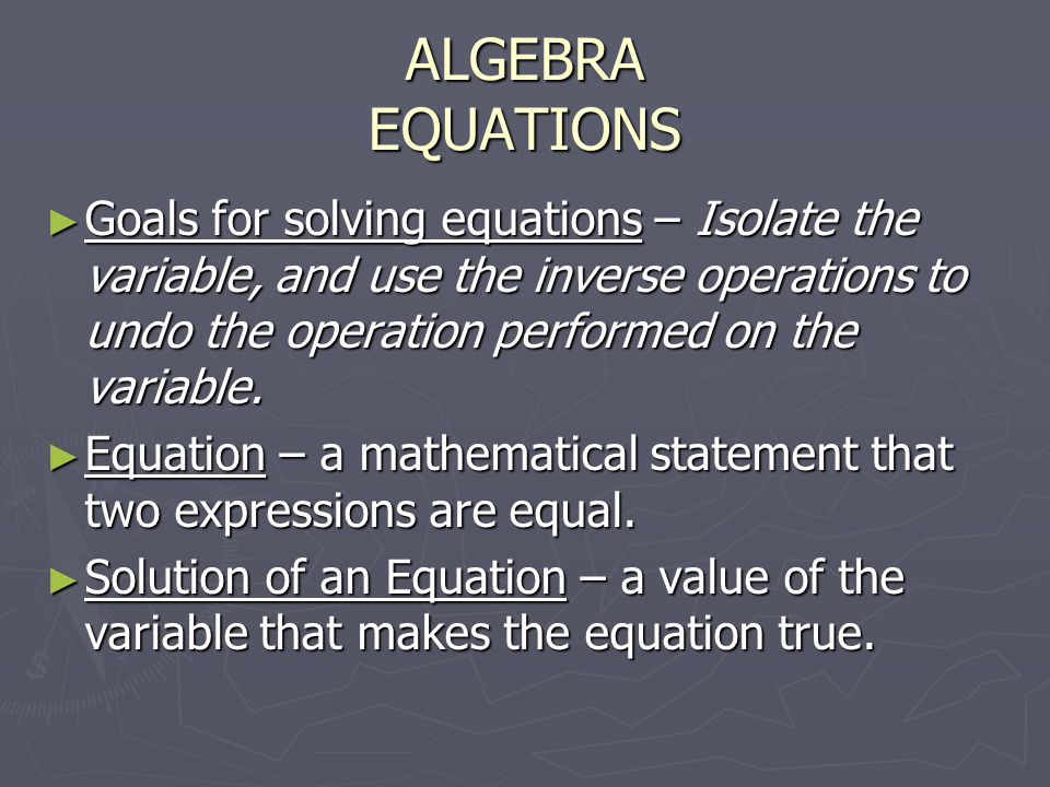 how are inverse operations used to solve equations