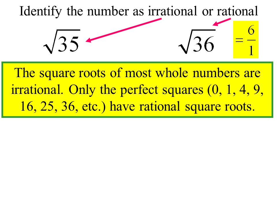 Ir rational Numbers Cannot be written as the ratio of two integers.
