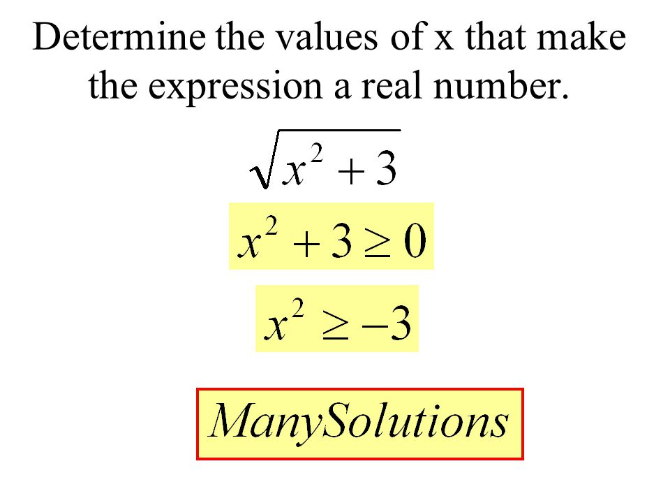 Determine the values of x that make the expression a real number.