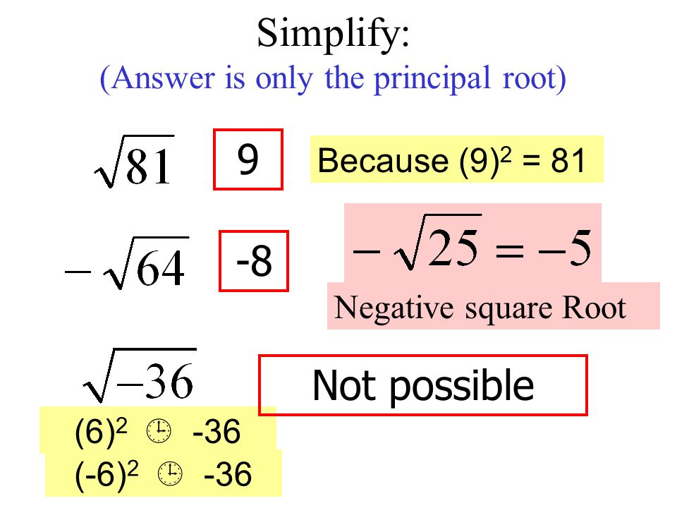 negative square root