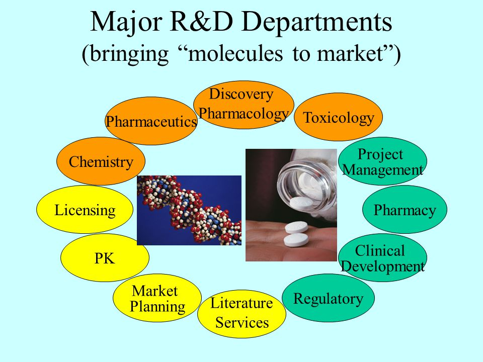 Major R&D Departments (bringing molecules to market ) Chemistry PK Regulatory Literature Services Licensing Discovery Pharmacology Toxicology Clinical Development Pharmaceutics Project Management Pharmacy Market Planning