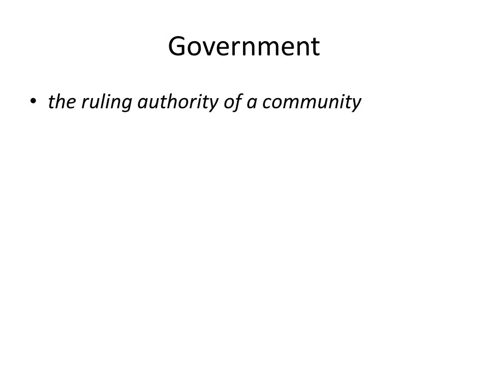 Government the ruling authority of a community