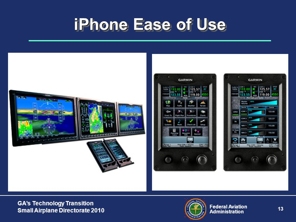 Federal Aviation Administration 13 GA's Technology Transition Small Airplane Directorate 2010 iPhone Ease of Use