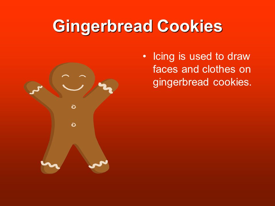 Gingerbread Cookies Icing is used to draw faces and clothes on gingerbread cookies.