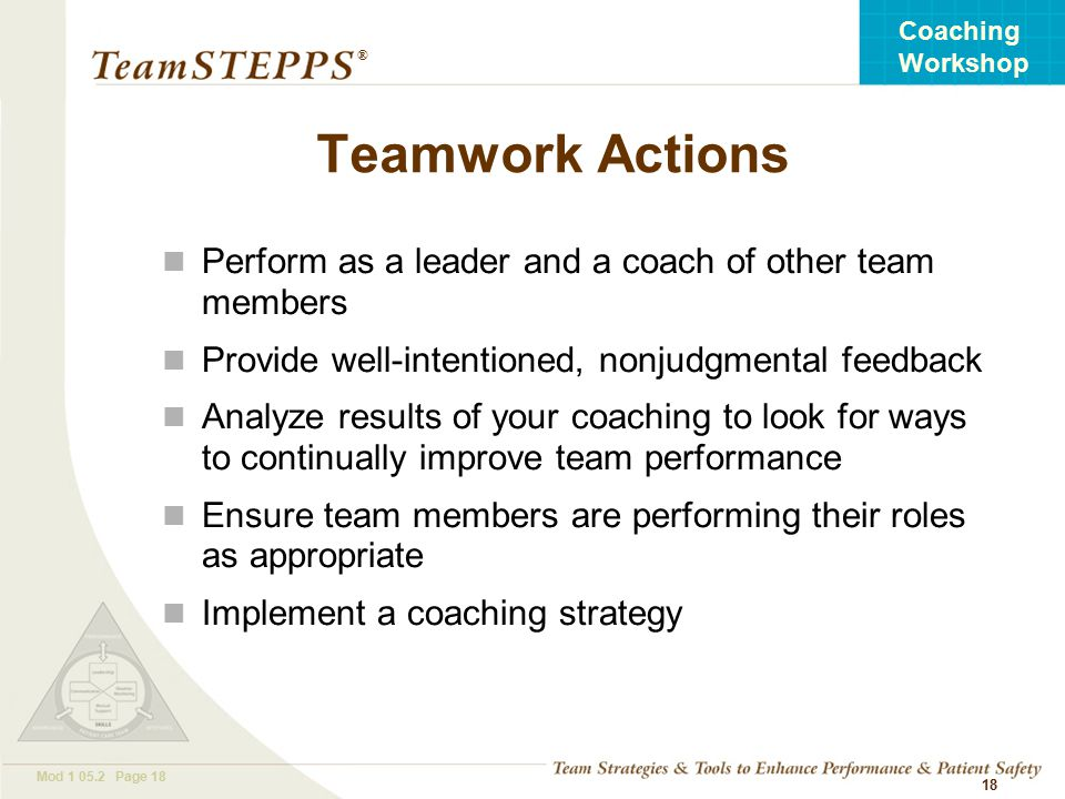 T EAM STEPPS 05.2 Mod Page 18 Coaching Workshop ® 18 Teamwork Actions Perform as a leader and a coach of other team members Provide well-intentioned, nonjudgmental feedback Analyze results of your coaching to look for ways to continually improve team performance Ensure team members are performing their roles as appropriate Implement a coaching strategy