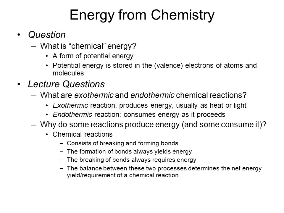 Energy from Fossil Fuels. Energy from Chemistry Question –What is ...