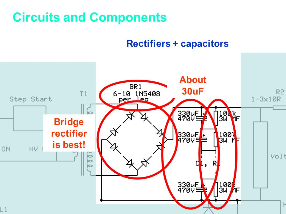 Rectifiers + capacitors Bridge rectifier is best! About 30uF