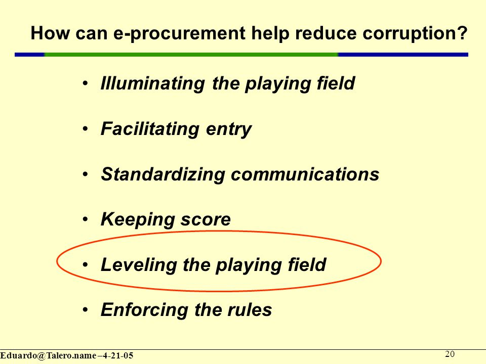 – How can e-procurement help reduce corruption.