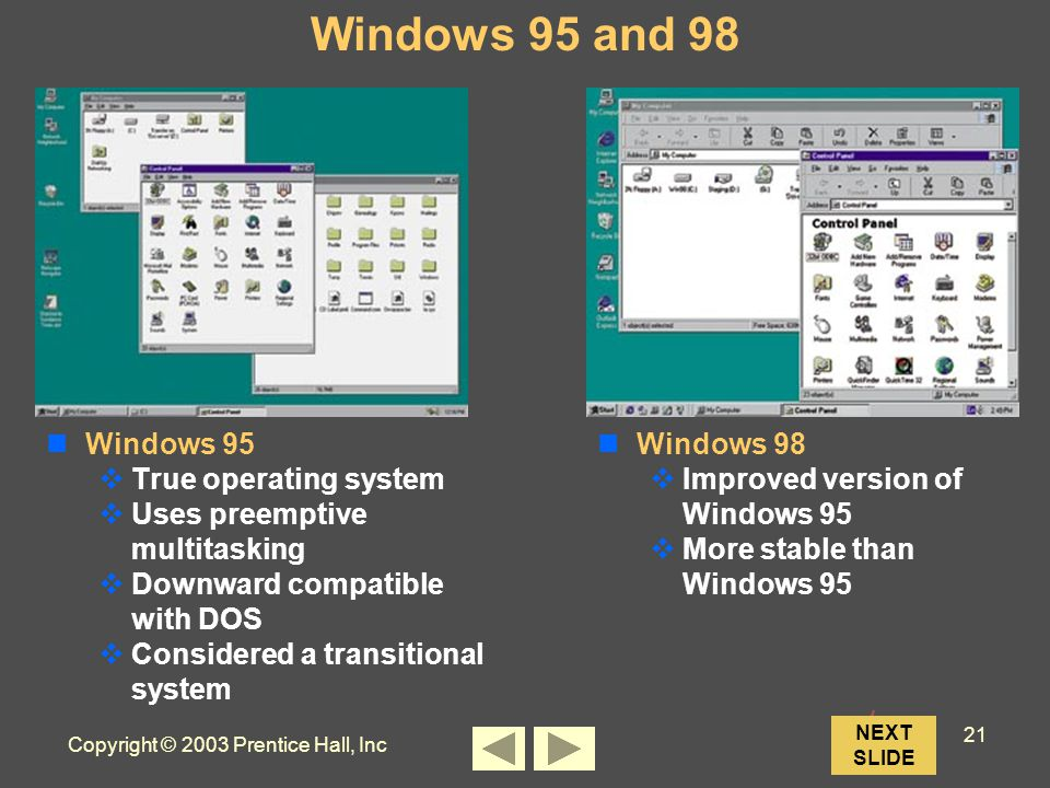 Copyright © 2003 Prentice Hall, Inc 21 NEXT SLIDE Windows 95 and 98 Windows 95  True operating system  Uses preemptive multitasking  Downward compatible with DOS  Considered a transitional system Windows 98  Improved version of Windows 95  More stable than Windows 95