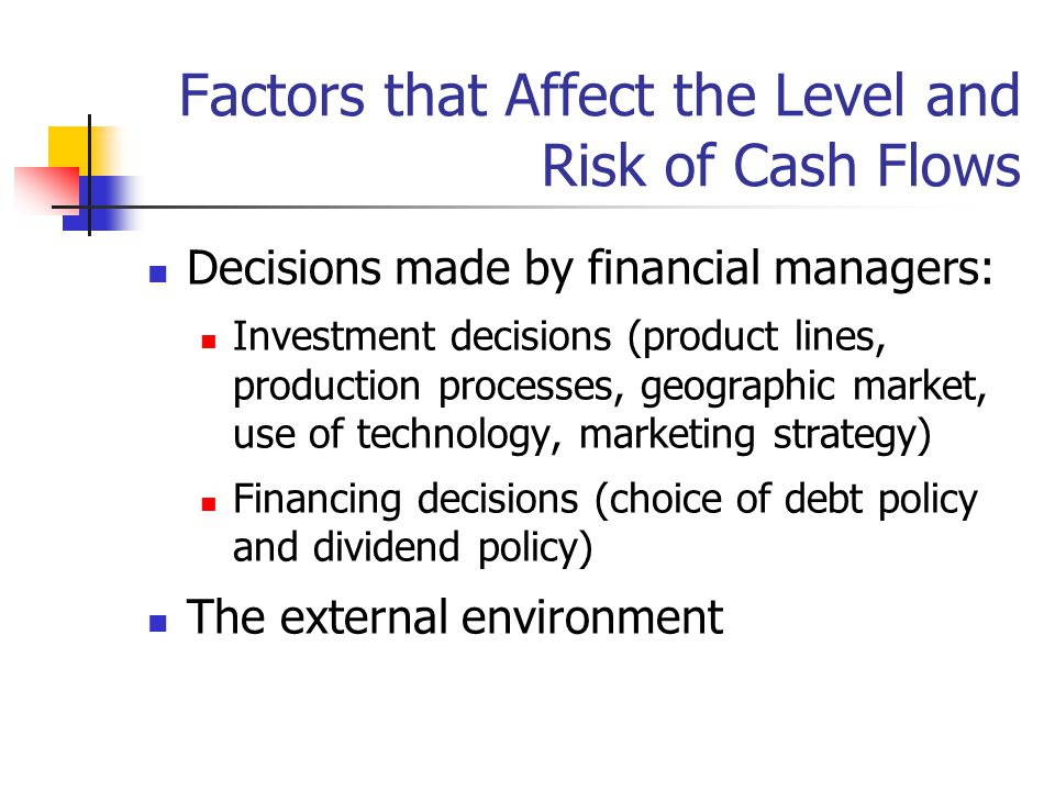 Factors that Affect the Level and Risk of Cash Flows Decisions made by financial managers: Investment decisions (product lines, production processes, geographic market, use of technology, marketing strategy) Financing decisions (choice of debt policy and dividend policy) The external environment