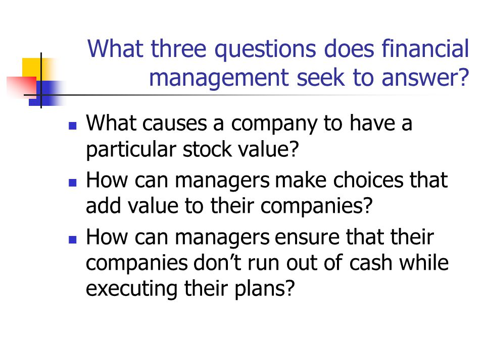 What three questions does financial management seek to answer.