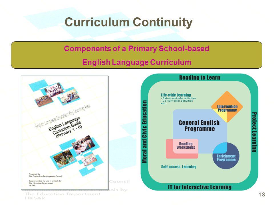 13 Components of a Primary School-based English Language Curriculum 13 Curriculum Continuity