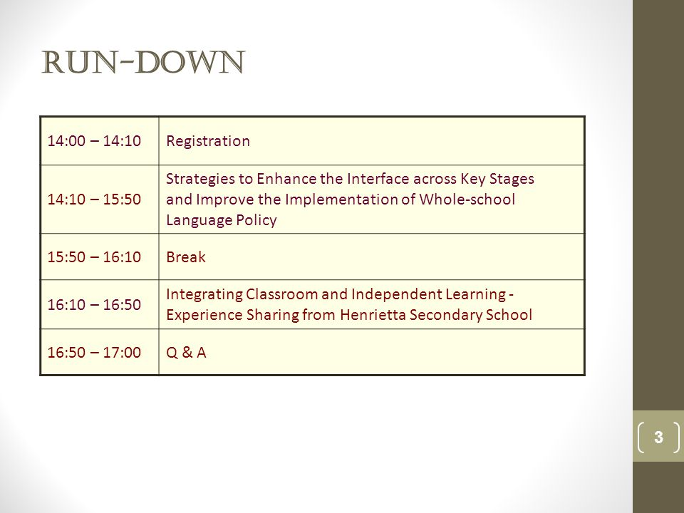 Run-down 3 14:00 – 14:10Registration 14:10 – 15:50 Strategies to Enhance the Interface across Key Stages and Improve the Implementation of Whole-school Language Policy 15:50 – 16:10Break 16:10 – 16:50 Integrating Classroom and Independent Learning - Experience Sharing from Henrietta Secondary School 16:50 – 17:00Q & A