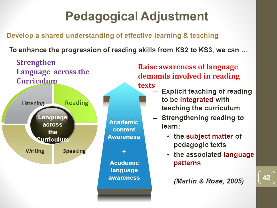 Listening SpeakingWriting Reading Language across the Curriculum –Explicit teaching of reading to be integrated with teaching the curriculum –Strengthening reading to learn: the subject matter of pedagogic texts the associated language patterns (Martin & Rose, 2005) Academic content Awareness + Academic language awareness Raise awareness of language demands involved in reading texts Strengthen Language across the Curriculum Develop a shared understanding of effective learning & teaching To enhance the progression of reading skills from KS2 to KS3, we can … Pedagogical Adjustment 42