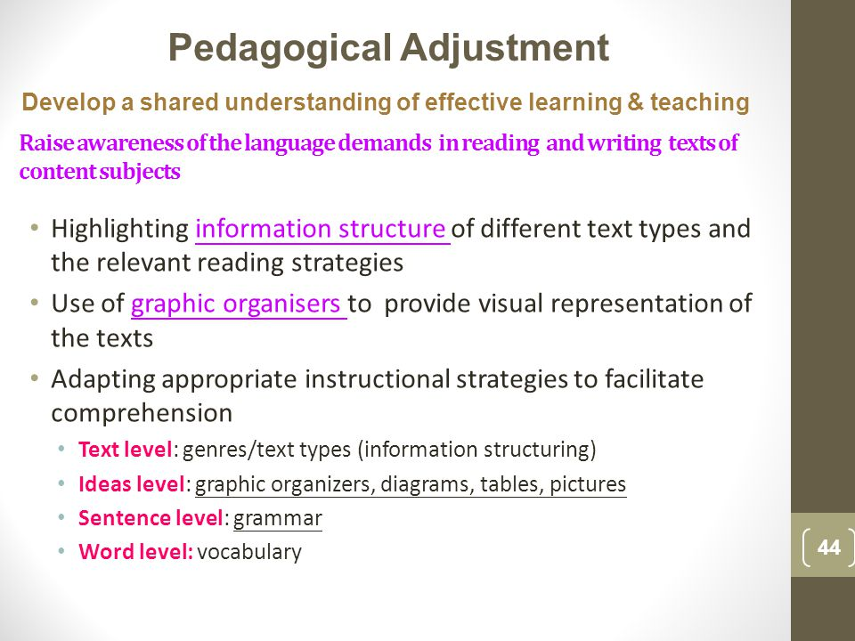 Highlighting information structure of different text types and the relevant reading strategies Use of graphic organisers to provide visual representation of the texts Adapting appropriate instructional strategies to facilitate comprehension Text level: genres/text types (information structuring) Ideas level: graphic organizers, diagrams, tables, pictures Sentence level: grammar Word level: vocabulary 44 Pedagogical Adjustment Develop a shared understanding of effective learning & teaching Raise awareness of the language demands in reading and writing texts of content subjects